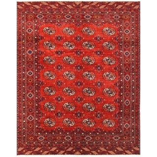 Herat Oriental Afghan Hand-knotted Vegetable Dye Turkoman Wool Rug (8'10 x 11'1)