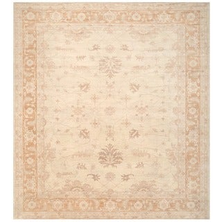 Herat Oriental Afghan Hand-knotted Vegetable Dye White Wash Oushak Wool Rug (11'11 x 13'3)