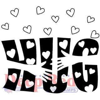 Deep Red Cling Stamp 2X2-Heartfelt Hug