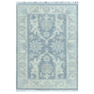 Herat Oriental Afghan Hand-knotted Vegetable Dye White Wash Oushak Wool Rug (2'3 x 3'1)
