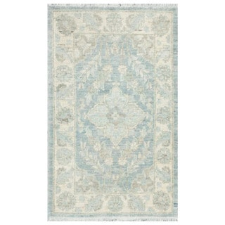 Herat Oriental Afghan Hand-knotted Vegetable Dye White Wash Oushak Wool Rug (2'1 x 3'5)