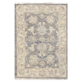 Herat Oriental Afghan Hand-knotted Vegetable Dye White Wash Oushak Wool Rug (2'1 x 2'11)