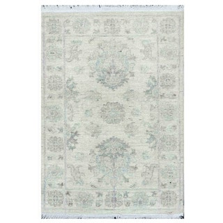 Herat Oriental Afghan Hand-knotted Vegetable Dye White Wash Oushak Wool Rug (2'1 x 3'1)