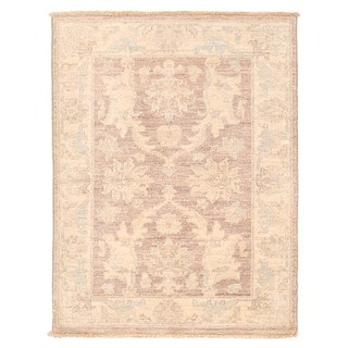 Herat Oriental Afghan Hand-knotted Vegetable Dye White Wash Oushak Wool Rug (2'1 x 2'8)