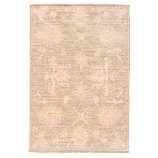 Herat Oriental Afghan Hand-knotted Vegetable Dye White Wash Oushak Wool Rug (2'1 x 3')