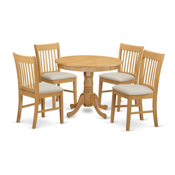 Oak Kitchen Tables And Chairs Sets: Shop ANNO5-OAK 5-Piece Dinette Table Set