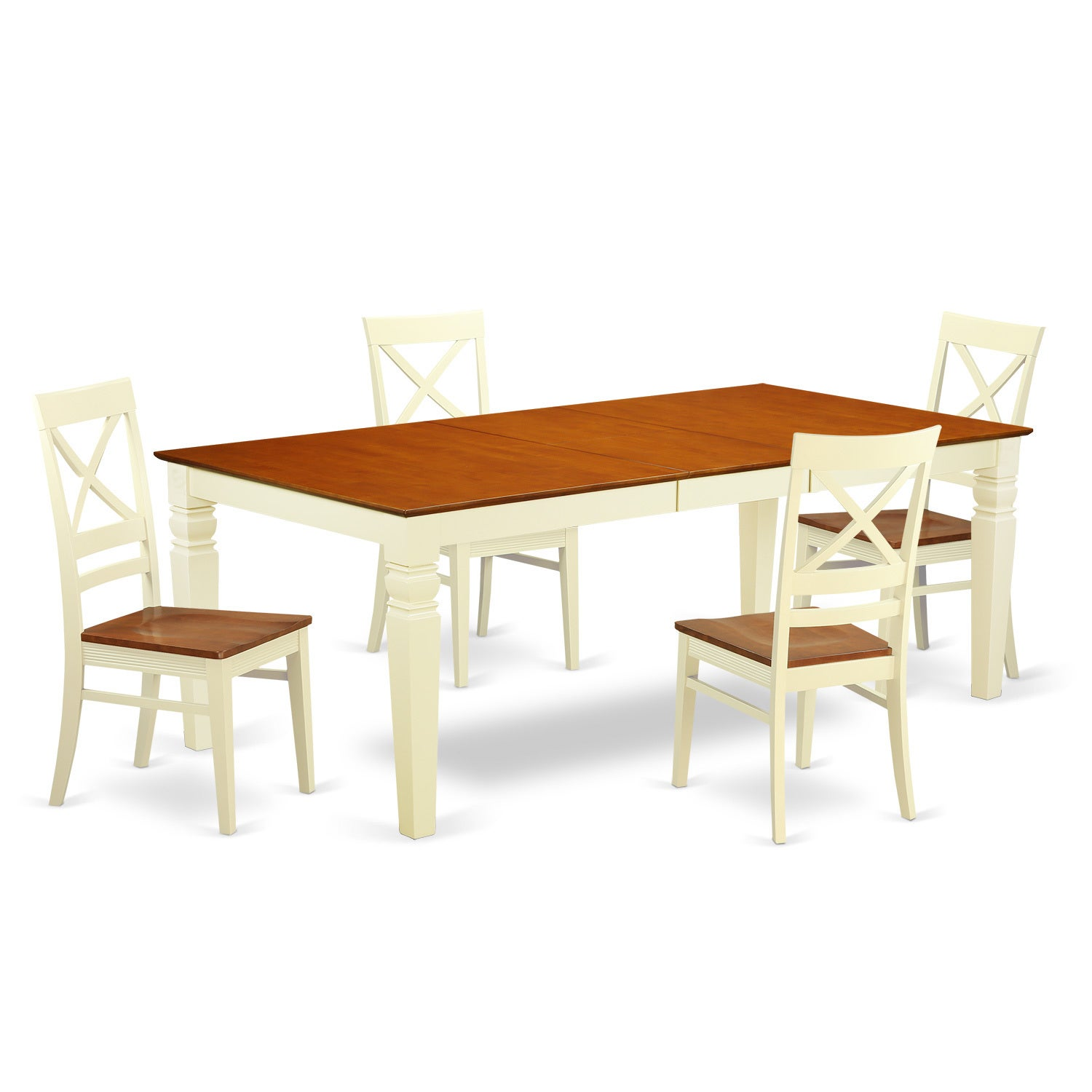 LGQU5-W 5 Piece table set with one Logan dining room table and four ...