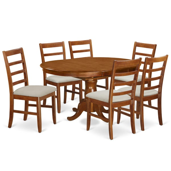 Portland Saddle Brown 7-Piece Dining Set with 18-inch Extension Leaf