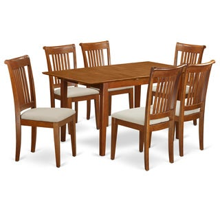 Saddle Brown 7-Piece Dining Set with 12-inch Extension Leaf