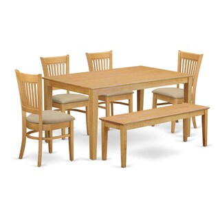 CAVA6-OAK 6 Piece Table set - Kitchen table and 4 dining room chairs combined with a wooden dining bench