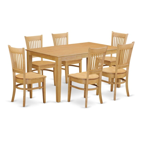 Cava7 oak 7 piece dining room set kitchen dinette table for Kitchen table set 7 piece