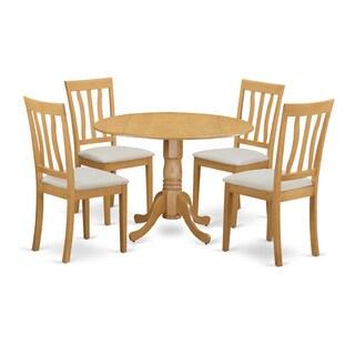 Oak Wood 5-Piece Round Dining Table Set
