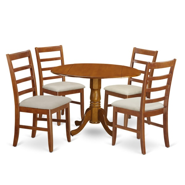 Small Wooden Kitchen Table And Chairs 3 Piece Set: Saddle Brown Wood 5-Piece Dining Set