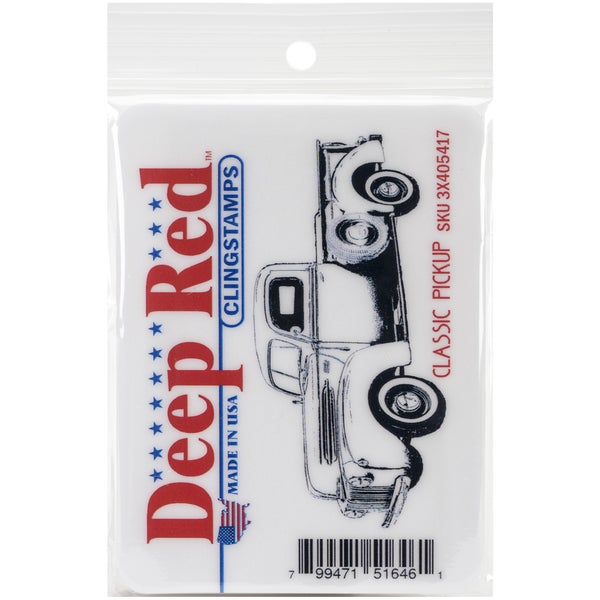 Deep Red Cling Stamp 3X1.25-Classic Pickup Truck