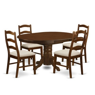 KEHE-ESP-C Kenley Dining Table with one 18-inch Leaf and Four to Six Upholstered Kitchen chairs in Espresso