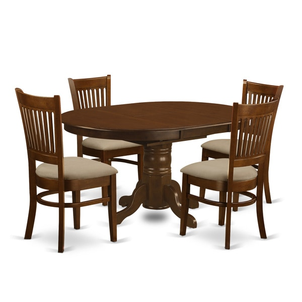 Kenley Espresso 5-Piece Dining Set with 18-in Extension Leaf