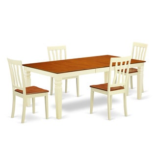 Logan Extendable Buttermilk and Cherry Dining Table Set (5-9 Pieces)