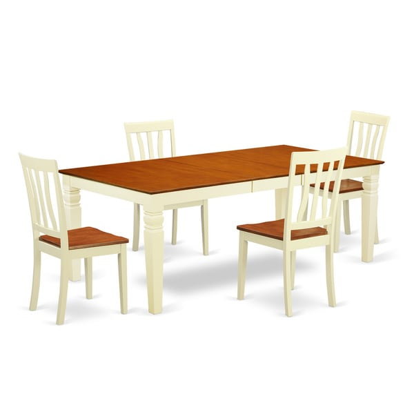 Logan Extendable Buttermilk And Cherry Dining Table Set (5 9 Pieces)