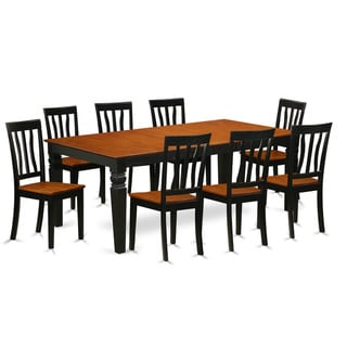 9-piece Dining Set with 1 Logan Dining Table and 8 Dining Chairs in Black and Cherry Finish