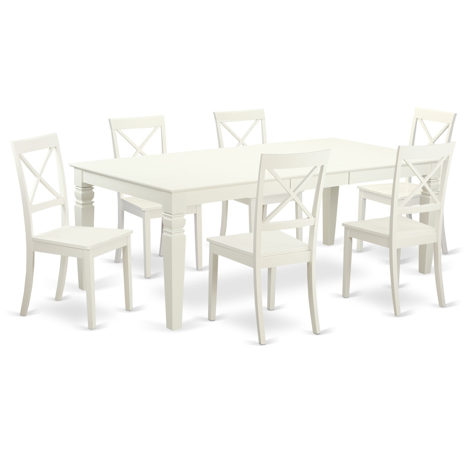Mission-Style Off-White (Beige) Wood Extendable Dining Se...