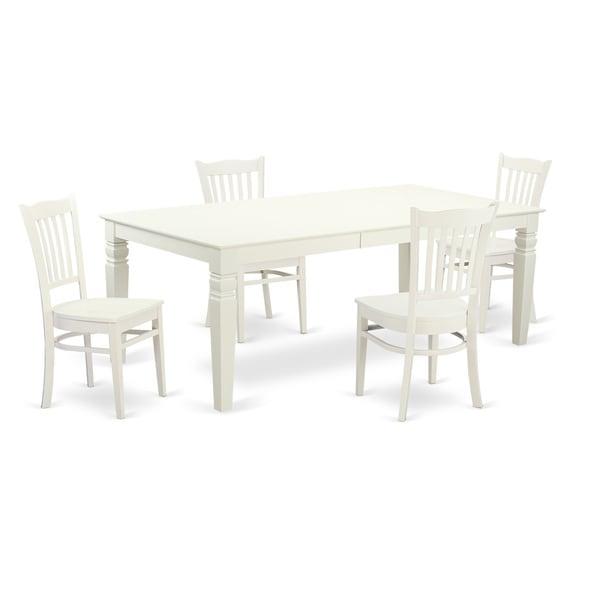 White Kitchen Sets: White Rectangular 5-piece Kitchen Table Set