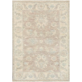 Herat Oriental Afghan Hand-knotted Vegetable Dye White Wash Oushak Wool Rug (2'1 x 3'2)