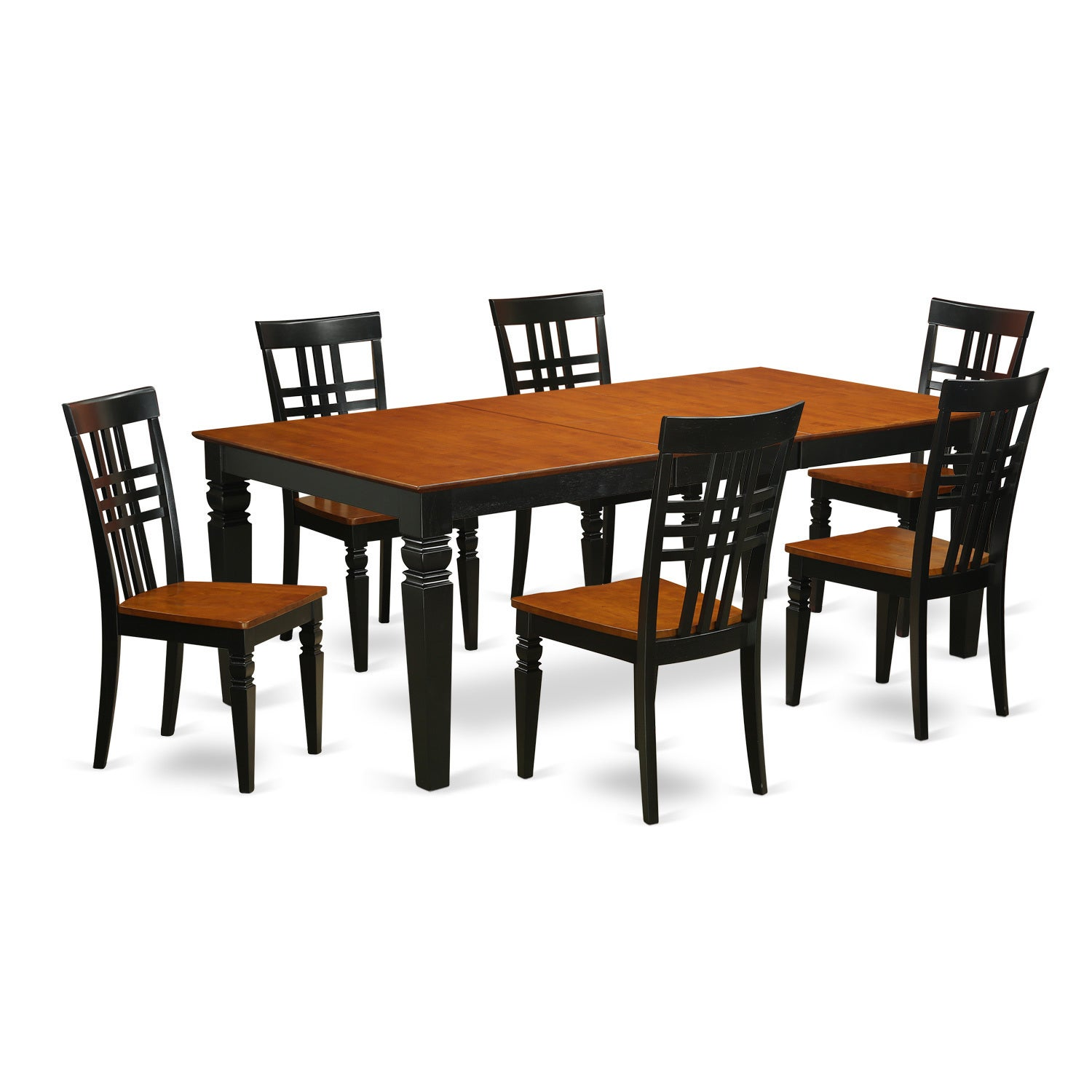 Logan Wood Extendable Dining Table and 6 Chairs Set (Blac...