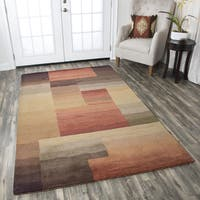 Hand-tufted Colours Red/ Burgundy Block Wool Area Rug  (8' x 10')