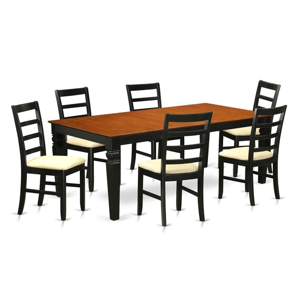 7 piece dining room set in black and cherry finish free shipping today 20941061. Black Bedroom Furniture Sets. Home Design Ideas