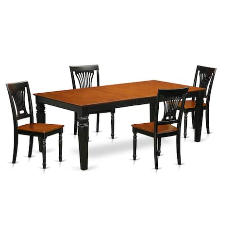Logan Black and Cherry Finish Wood Dining Set