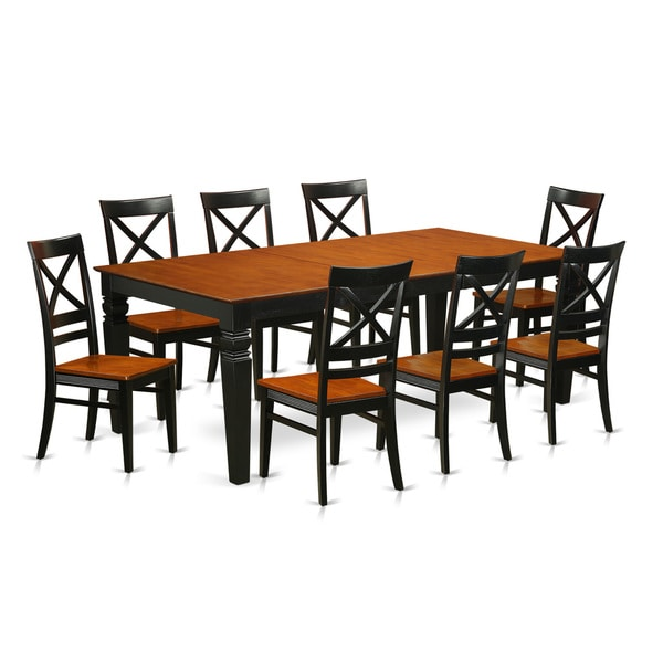 9 Piece Dining Table Set For 8 Dining Room Table With 8: Shop LGQU9-W 9-Piece Black Finish Wood Kitchen Table Set
