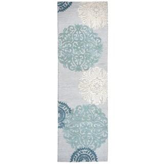 "Hand-tufted Dimensions Blue Wool Medallion Runner Rug (2'6""x8')"