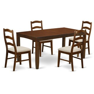 LYHE-ESP-C  Lynfield Dining Table with one 12in Leaf and 4  up to 6 Upholstered Seat Dinette chairs in Espresso finish.