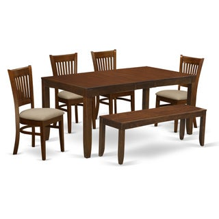 LYVA6-ESP 6 Pc Set- Table with one 12in Leaf and 4  chairs Plus one Bench