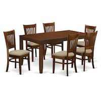 "LYVA7-ESP 7-Piece Lynfield Dining Table with one 12"" Leaf and Six Kitchen chairs in Espresso color."