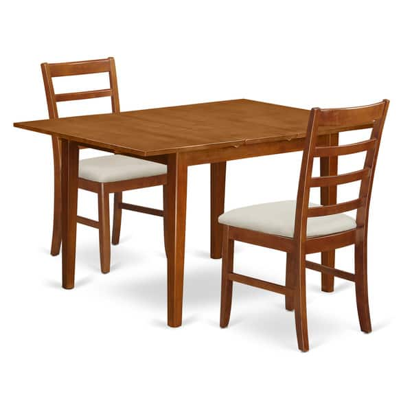 Shop Black Friday Deals On Saddle Brown Wood 3-piece Milan Dining Table Set - Overstock - 14366565 - Wood Seat
