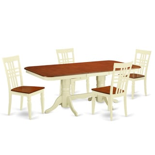 NALG-BMK-W Kitchen table set with one Napoleon dining table and four up to 8 dining chairs in Buttermilk and Cherry Finish