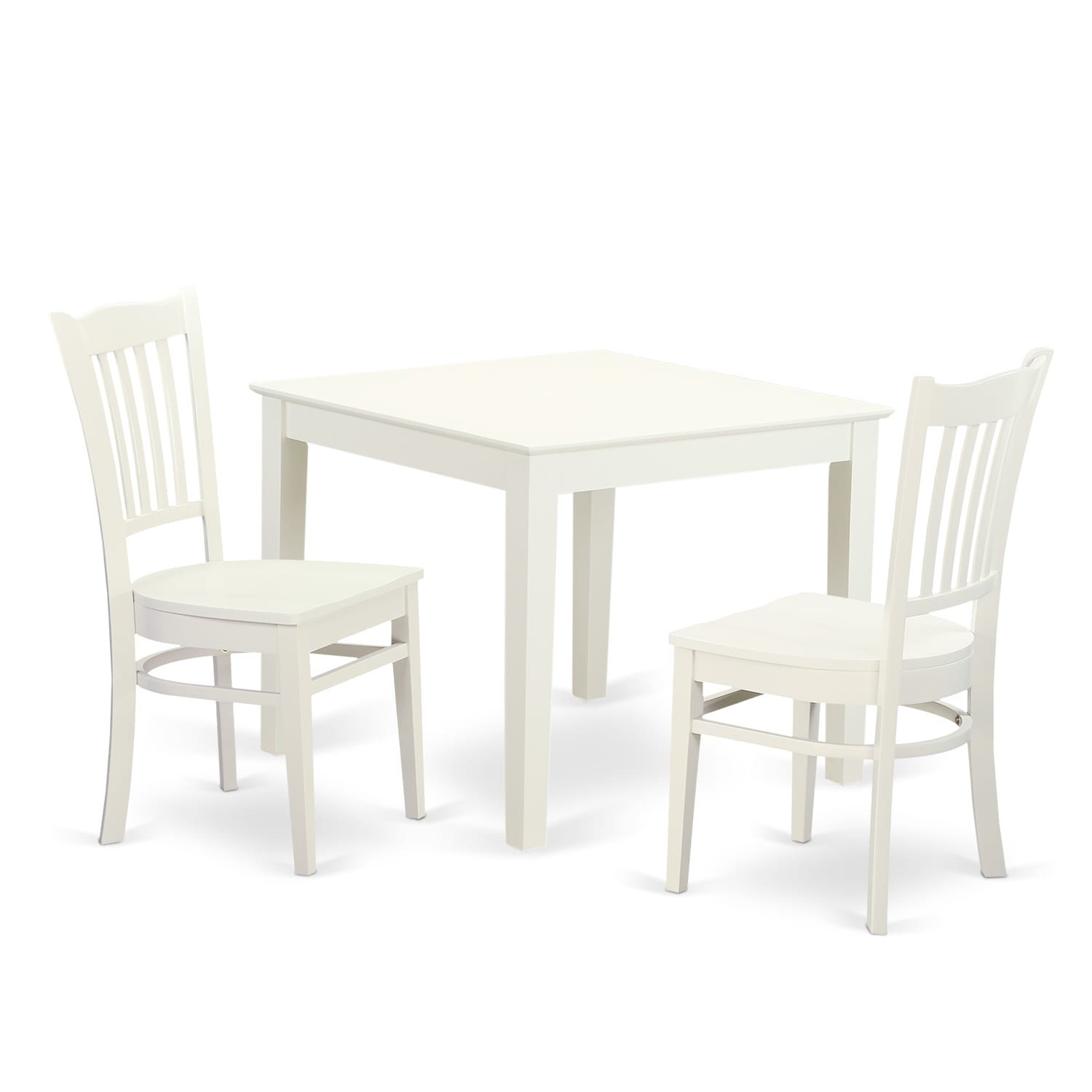 OXGR3-W 3-Piece breakfast nook table and 2 wood dining ro...