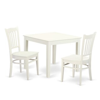 OXGR3-W 3-Piece breakfast nook table and 2 wood dining room chair in Linen White Finish