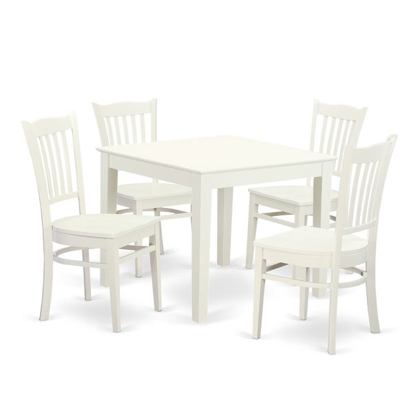 Kitchen Dining Chairs Solid Wood 8: Shop OXGR5-W 5 PC Oxford Kitchen Table And Four Solid Wood