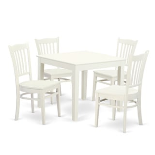 OXGR5 W 5 PC Oxford Kitchen Table And Four Solid Wood Dining Chairs In Linen