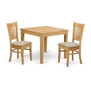OXVA3-OAK 3-Piece Dining room table set - Kitchen dinette table and 2 dining chairs
