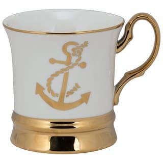 Thimble Goldtoned Porcelain Anchor Mug (Pack of 4)