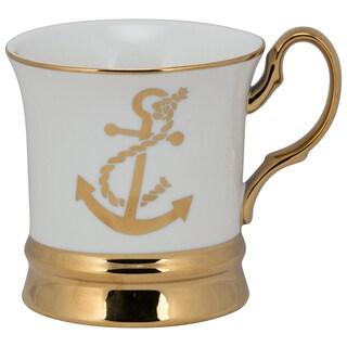 10 Strawberry Street Thimble Goldtoned Porcelain Anchor Mug (Pack of 4)