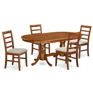 Oval Saddle Brown Dining Table Set with Upholstered Chairs and 18-inch Leaf
