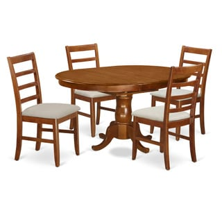 Portland Saddle Brown Rubberwood Extendable 5-Piece Dining Set