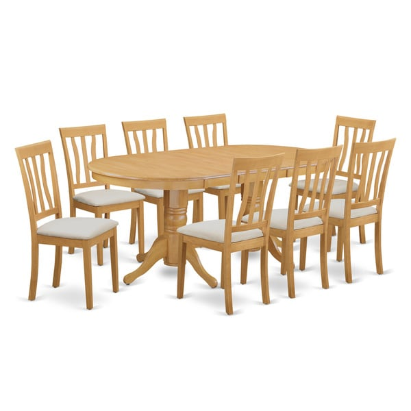 VAAN9-OAK 9-piece Dining Table Set - Kitchen Dinette Table and 8 Kitchen Dining Chairs