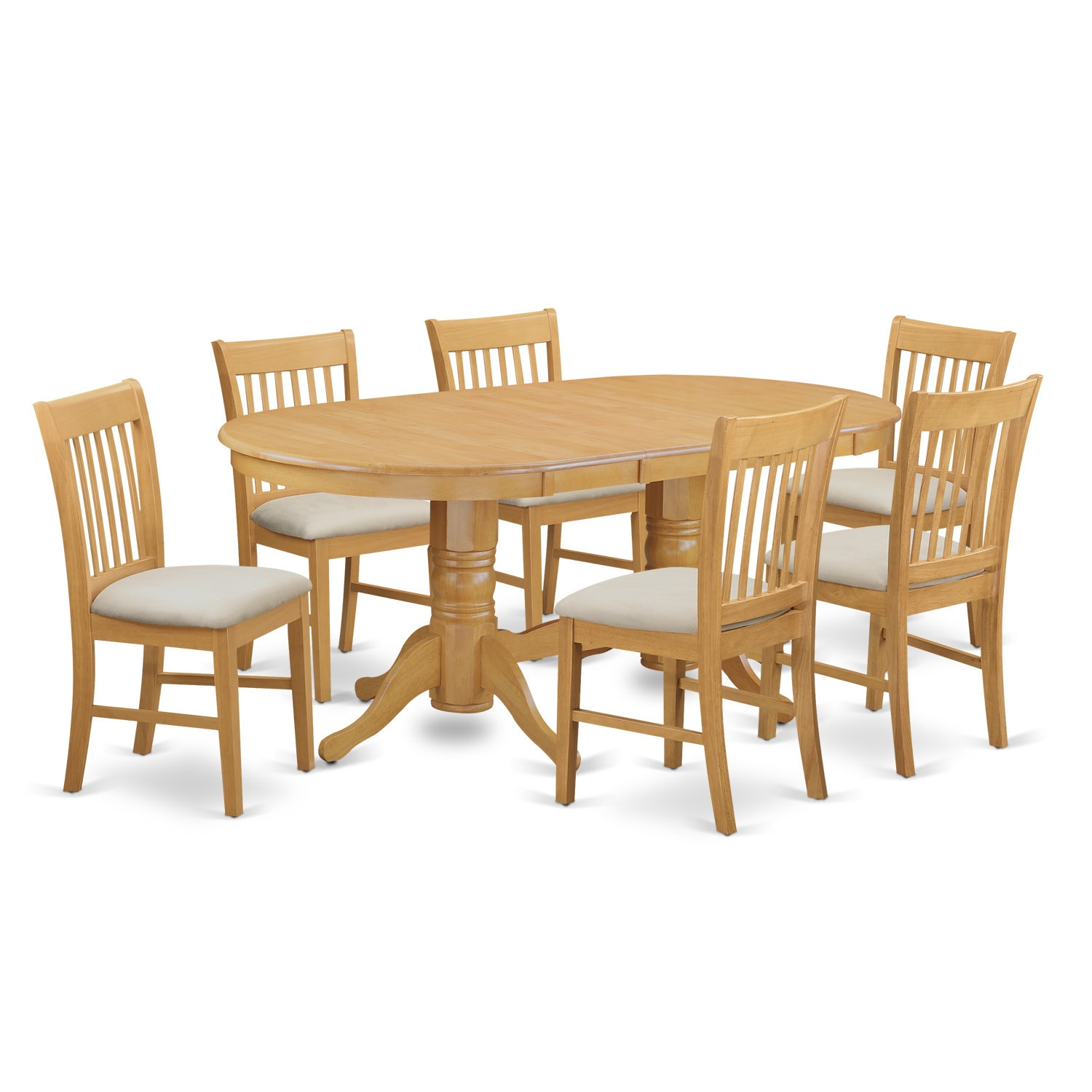 VANO7-OAK 7 Piece Dinette set - Kitchen dinette table and...