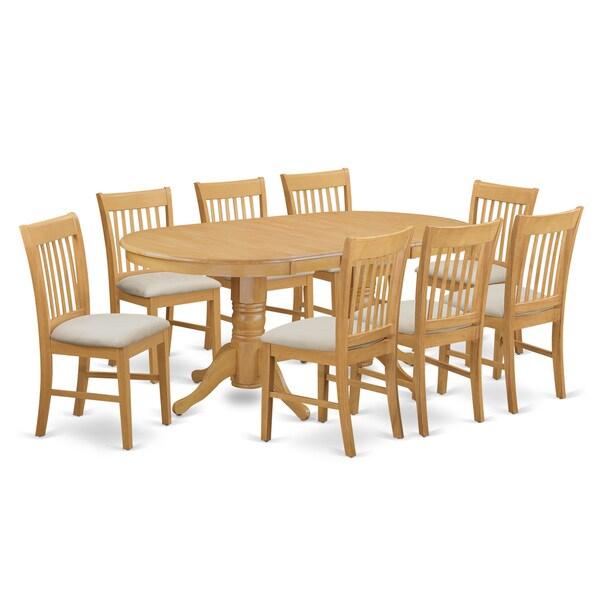 Shop Oak Wood 9-Piece Dining Set