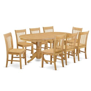 Oak Wood 9-Piece Dining Set